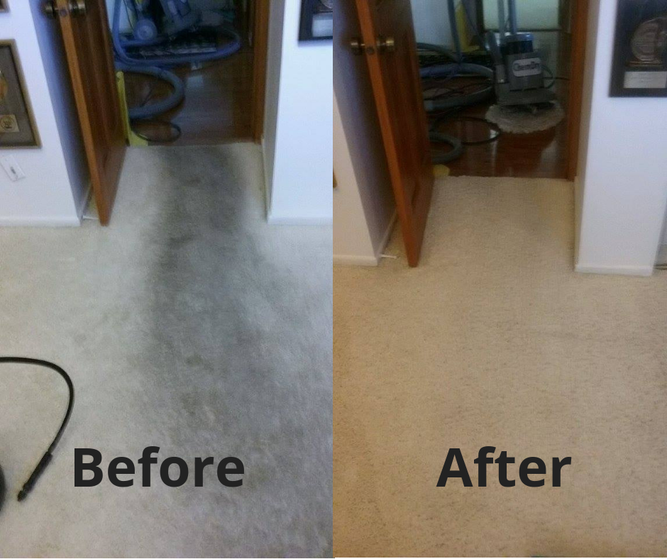 Before and after professional carpet cleaning in Malibu