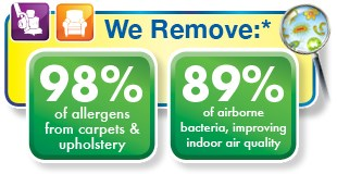 Chem-Dry's carpet and upholstery cleaning process removes 98% of allergens and 89% of airborne bacteria